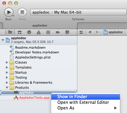 Show appledoc in Finder