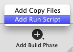 Adding Run Script Build Phase